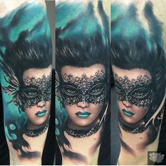 Pior tattoos. Girl with mask.