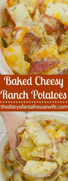 You are going to want to try this one asap! I made them for dinner last night, SO GOOD! Baked Cheesy Ranch Potatoes, such a simple side dish recipe.(Best Salad For Dinner) Side Dishes For Ham, Potluck Side Dishes, Potato Side Dishes, Dinner Dishes, Side Dish Recipes, Food Dishes, Simple Side Dishes, Supper Recipes, Main Dishes