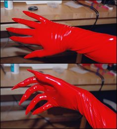Vinyl glove tutorial... I like that this one has only one side seam so it could be adjusted easily to a long sleeve that continues into a glove