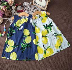Fruity BLUE Lemon Tent Dress with Bow