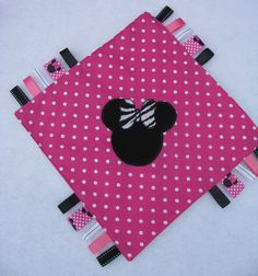 Minnie Mouse  Blanket Lovie Pink and White minky by Mimisartistree,