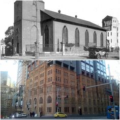 Scots Presbyterian Church on the corner of York and Jamison Sts, Sydney 1926 > 2016. [City of Sydney Archive > Sandro Bell. By Sandro Bell]