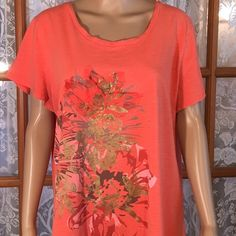 "Just In3D Flower Coral Gold Foil Top Not just s plain screen printed top. Nice 3D flower. 100% light weight cotton. Bust is 48"". Length is 26 1/2"". No holes, rips, stains or tears. Non smoking home. Tops"