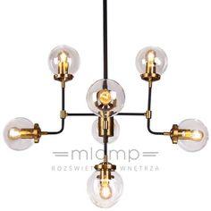 Żyrandol LAMPA sufitowa BOSTON EVO P08959BR  industrialna OPRAWA metalowa czarny przezroczysty