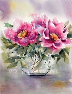 Watercolor flowers by VoyageVisuelle Watercolor Pictures, Easy Watercolor, Watercolour Painting, Watercolor Flowers, Watercolors, Beautiful Paintings, Watercolor Illustration, Flower Art, Beautiful Flowers