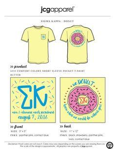 JCG Apparel : Custom Printed Apparel : Sigma Kappa Mom and Alumnae Mock Recruitment T-Shirt #sigmakappa #sk #donut #recruitment #alumnae