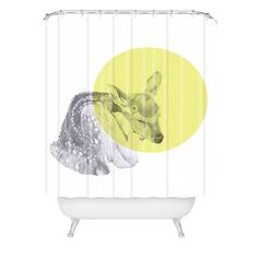 Morgan Kendall yellow sleeping deer Shower Curtain | DENY Designs Home Accessories