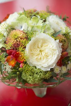 Patience Cottage Garden arrangement in a green glass bowl #HomeDecor #CutRoses #CutFlowers
