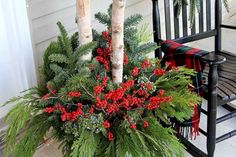 Quick and easy tutorial for making these GORGEOUS winter porch pots. Made in baskets for a farmhouse style, but can be made in urns for a more formal look! Outdoor Christmas Planters, Christmas Urns, Christmas Greenery, Christmas Arrangements, Outdoor Pots, Floral Arrangements, Christmas Ideas, Christmas Stuff, Outdoor Ideas