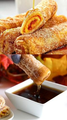 Pumpkin French Toast Roll-ups: french toast filled with a sweet pumpkin pie filling, rolled up, then pan fried in butter and tossed in sweet cinnamon sugar! recipes videos healthy breakfast french toast Pumpkin French Toast Roll Ups Pumpkin Dessert, Sugar Pumpkin, Pumpkin Pumpkin, Pumpkin Cookies, Cheese Pumpkin, Pumpkin Carving, Pumpkin Spice, Pumpkin Coffee Cakes, Purple Pumpkin