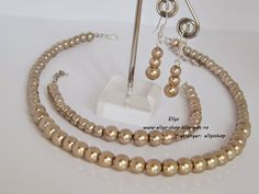 Ellys Shop: Set perle sticla- culoare: cafea cu lapte Pearl Necklace, Handmade, Jewelry, Fashion, Fimo, Bead, String Of Pearls, Moda, Hand Made
