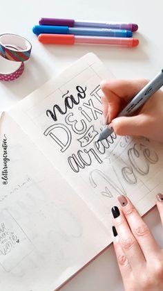 Hand Lettering Art, Hand Lettering Tutorial, Lettering Styles, Brush Lettering, Bullet Journal Books, Bullet Journal School, Book Journal, Diy Letters, Love Letters