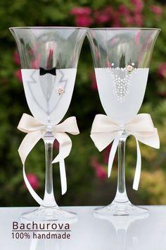 Svatební skleničky sklenice vintage svatební na svatbu svatební skleničky přípitkové Flute, Champagne, Tableware, Handmade, Dinnerware, Hand Made, Flute Instrument, Dishes, Flutes