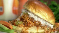 Buffalo Turkey Sloppy Joes recipe from Rachael Ray via Food Network Turkey Sloppy Joes, Sloppy Joes Recipe, Food Network Recipes, Cooking Recipes, Healthy Recipes, Healthy Meals, Healthy Food, Snack Recipes, Healthy Eating