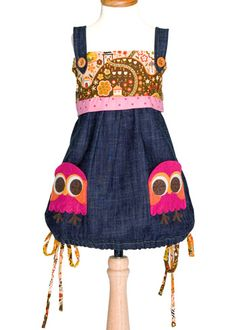Denim Sundress with Owl Pockets - decaf plush online shop Dresses Kids Girl, Toddler Girl Outfits, Toddler Dress, Cute Dresses, Kids Outfits, Tween Girls, Kids Girls, Little Girl Fashion, Kids Fashion