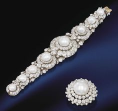 AN HISTORIC PEARL AND DIAMOND BRACELET AND BROOCH | Jewelry, bracelet | Christie's
