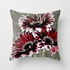 Triple Gerbera Fractalius Throw Pillow by F Photography and Digital Art - $20.00