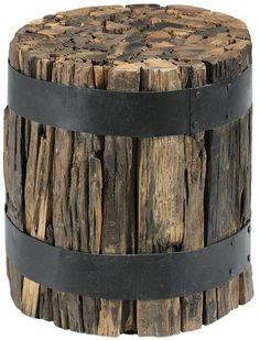 Recycled railway ties side table. This would be so beautiful next to a velvet sofa!