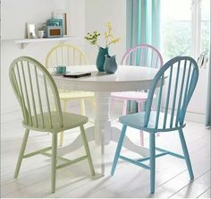 Colourful table and chairs Very