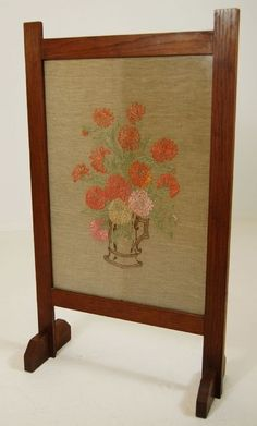 Arts & Crafts Embroidered Floral Fire Screen - English  c.1895