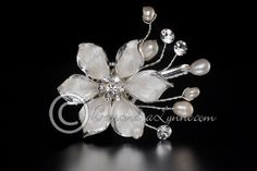 Frosted Silver Flower & Freshwater Pearl Wedding Hair Clip