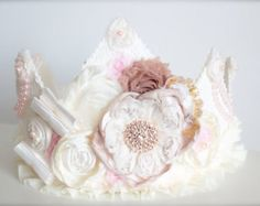 Vintage Inspired Lace Ivory and Nude Toned Rosette with a touch of Pink and Gold Fabric Crown - Birthday Hat or Wedding Photography Prop