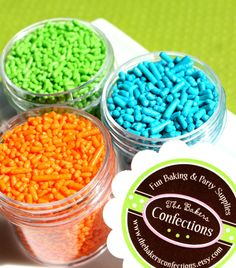 """Jimmie Sprinkles in orange, teal and lime.  Perfect for the tops of summer party cupcakes! We call this our """"cool summer"""" collection."""