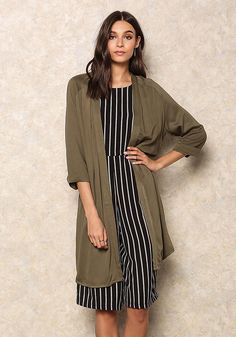 Olive Layered Sleek Cardigan - Cardigans - Outerwear - Clothes