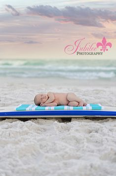 Destin Newborn Photographer surfboard Beach Baby  www.jubileephotography.com