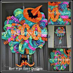 Halloween Wreath Deco Mesh Wreath Mesh por RedWithEnvyDesigns, $175.00