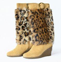 38e357a7a3e Colin Stuart Victorias Secret Faux Fur Upper Suede Lower Boots Wedge Heel  Sz 6  ColinStuart