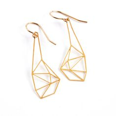 Geometric earrings, geometric jewelry, faceted earrings