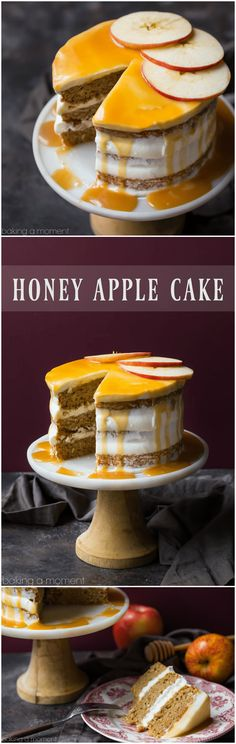 Apple Honey Cake: just a hint of cinnamon, a fluffy cream cheese frosting, and the most INCREDIBLE honey caramel drizzle! food desserts apple via @bakingamoment