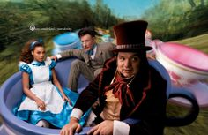 Beyonce as Alice, Oliver Platt as the Mad Hatter and Lyle Lovett as the March Hare in a teacup.