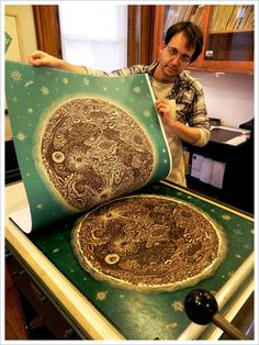 "Printing ""THE MOON"" Woodcut Print by Tugboat Printshop"