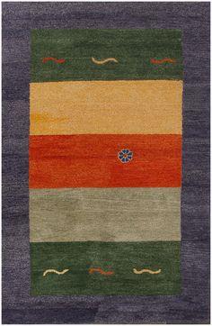 Rugsville Rug Gabbeh Modern Wool 12135 Blue Green Gold