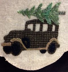 Wool Applique Tree Lot using Tim Holtz Old Jalopy Die by Sizzix  www.prettypennyprecuts.etsy.com