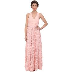 Aidan Mattox Chiffon Halter Gown with Rosette Skirt Women's Dress,... ($170) ❤ liked on Polyvore featuring dresses, gowns, pink, chiffon halter gown, chiffon gown, pleated chiffon dress, pink skater skirt and aidan mattox gown
