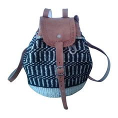 Handmade black and cream yarn leather backpack.