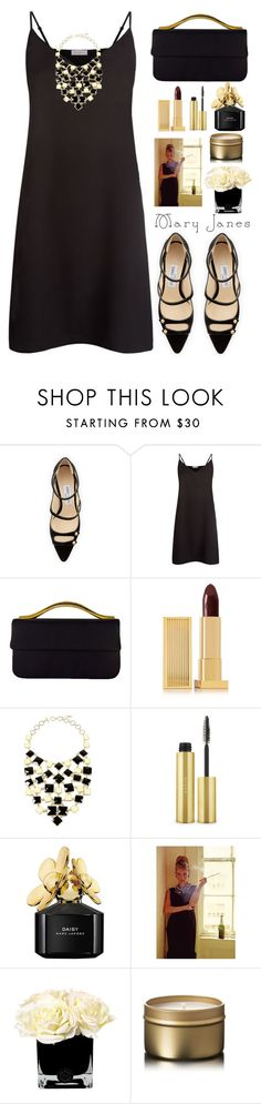 """Audrey Hepburn's Mary Janes"" by juliehalloran ❤ liked on Polyvore featuring Jimmy Choo, Sandro, Lipstick Queen, Amrita Singh, AERIN, Marc Jacobs and Hervé Gambs"