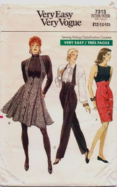 dbdc8700f63 1980s Very Easy Very Vogue Pattern 7313 Womens High Waisted Skirt   Pants  Size 12 Hip 36
