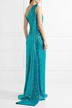 Elie Saab - One-shoulder Cutout Sequined Tulle Gown - Teal - FR Beautiful Dresses, Nice Dresses, Formal Dresses, Edie Parker Clutch, Tulle Gown, Fashion Catalogue, Elie Saab, Formal Wear, Evening Gowns