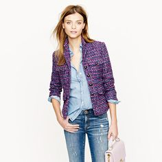 So want a tweed blazer this fall!  Multicolor tweed jacket - novelty - Women's blazers - J.Crew