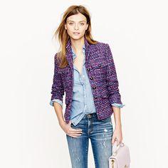 So want a tweed blazer this fall!  Multicolor tweed jacket - novelty - Women's blazers - J.Crew