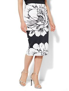 7th Avenue Suiting Collection - Scuba Midi Skirt - Bold Floral Print - New York & Company