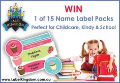 WIN 1 of 15 Name Label Packs from Label Kingdom