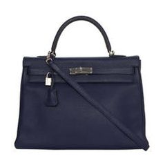 Hermes NEW Navy Bleu Saphir Clemence Leather 35cm Kelly Bag PHW