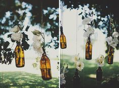Aisle Style – 20 of the Most Lovely Altar Backdrops Flower Wall Wedding, Wedding Flowers, Brown Bottles, Aisle Style, Floral Backdrop, Hanging Flowers, Flower Vases, Decoration Design, Ceremony Decorations