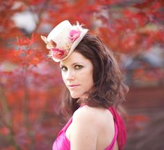 White Mini Top Hat with Pink Roses and Velvet Leaves - BELLA by LaCocoRouge on Etsy https://www.etsy.com/listing/86339323/white-mini-top-hat-with-pink-roses-and