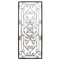 This Tuscan Large Rectangular Wrought Iron Wall Grille Plaque is crafted from wrought iron and finished in a rich brown and features scrolling detail. Wrought Iron Wall Decor, Wrought Iron Gates, Garage Door Decorative Hardware, Iron Doors, Wall Sculptures, Wall Plaques, Metal Wall Art, Wall Art Decor, Pergola Plans